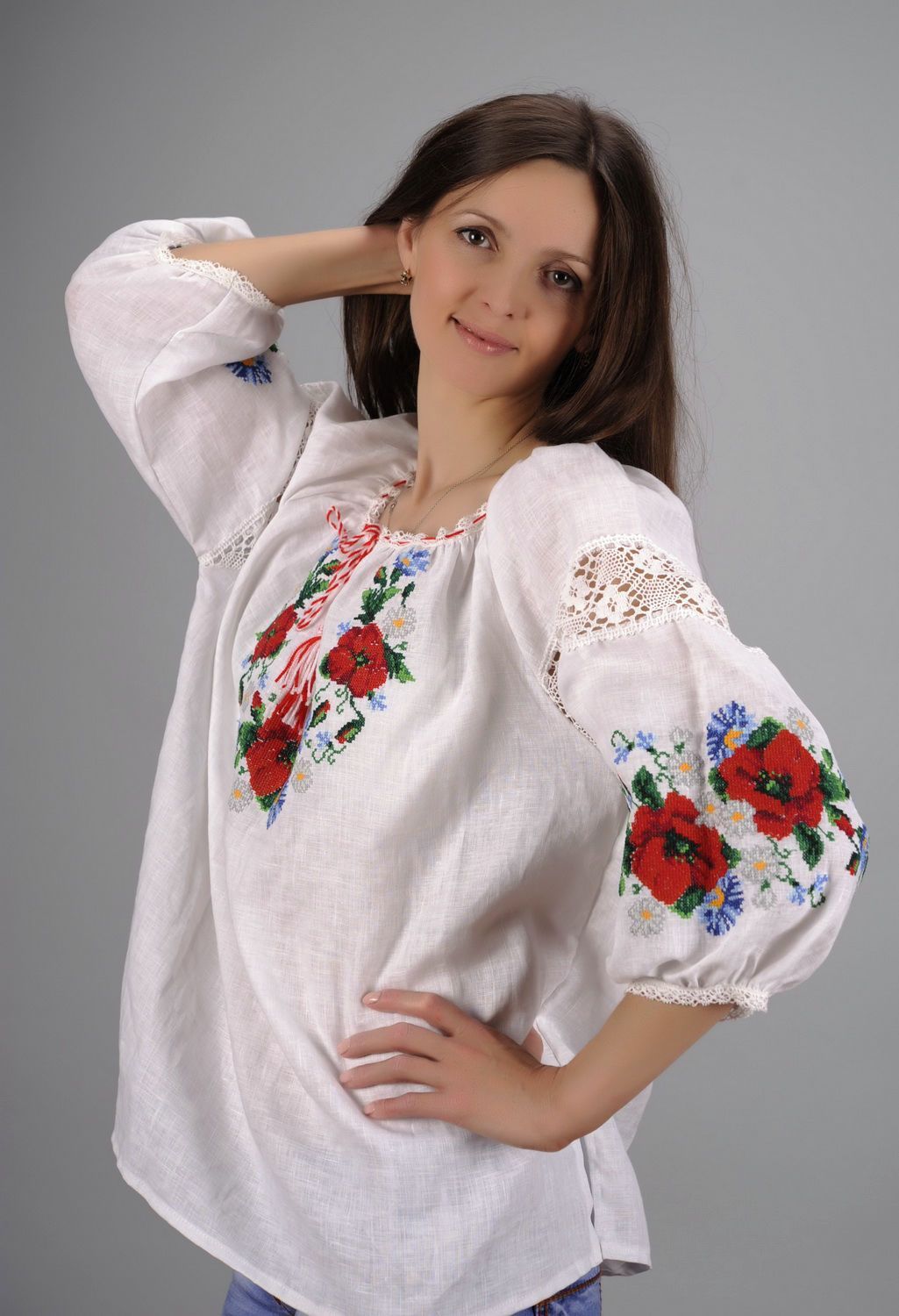 Linen embroidered shirt photo 6