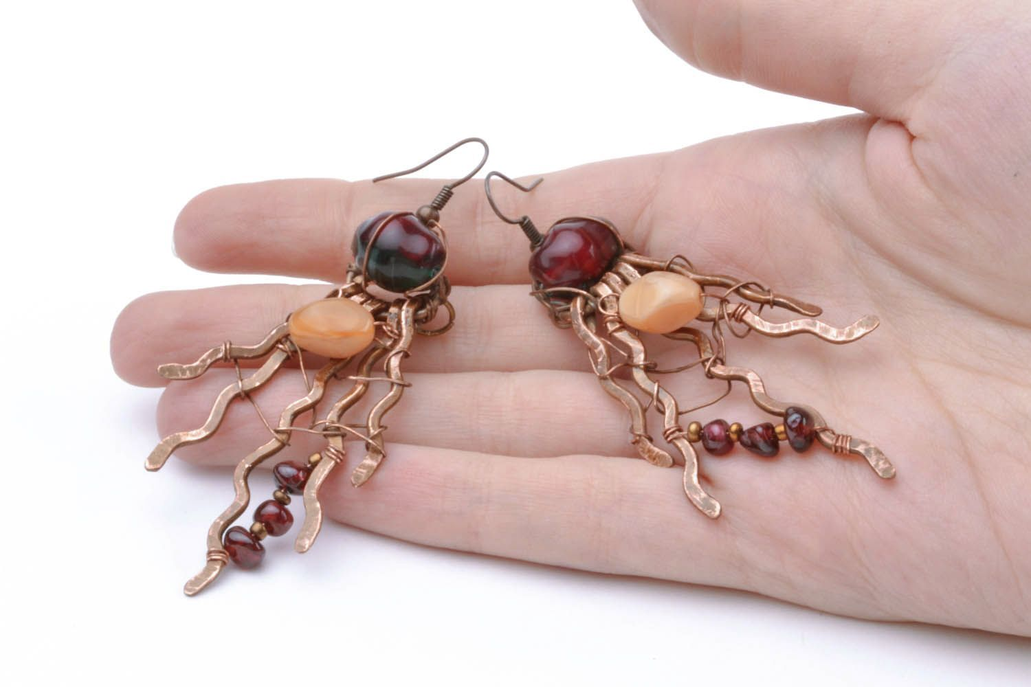 Copper earrings with natural stones photo 2