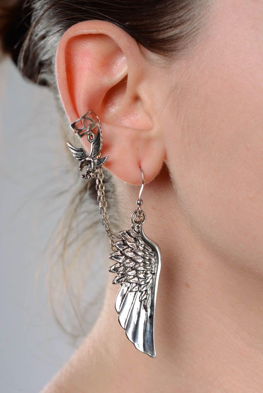 Cuff earrings made  of costume jewelery alloy Flight photo 3