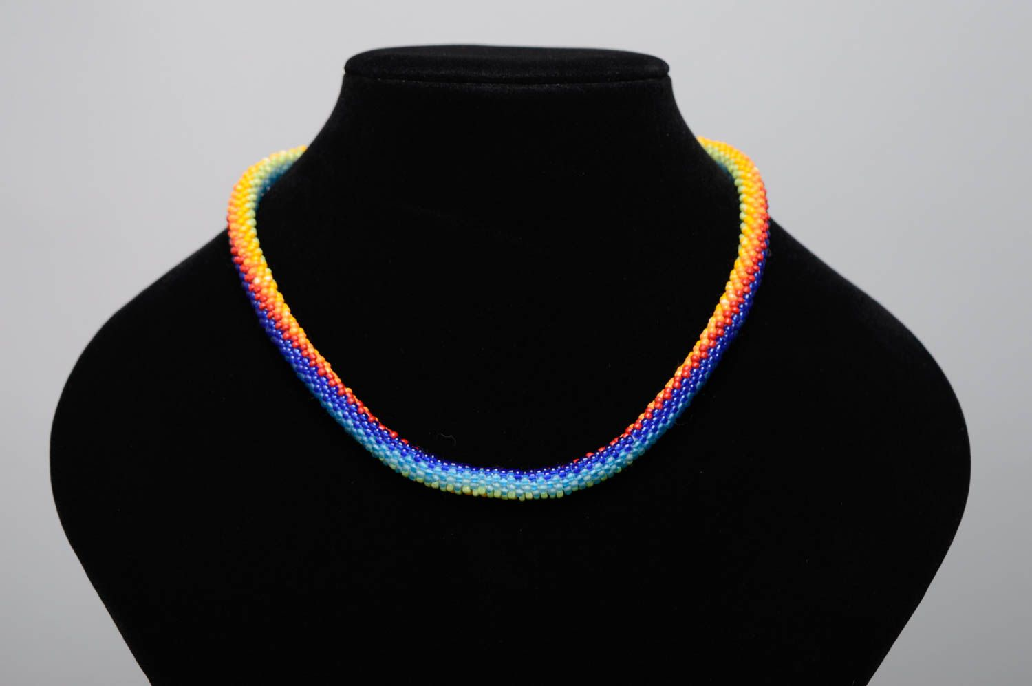 Colorful beaded cord necklace Rainbow photo 3