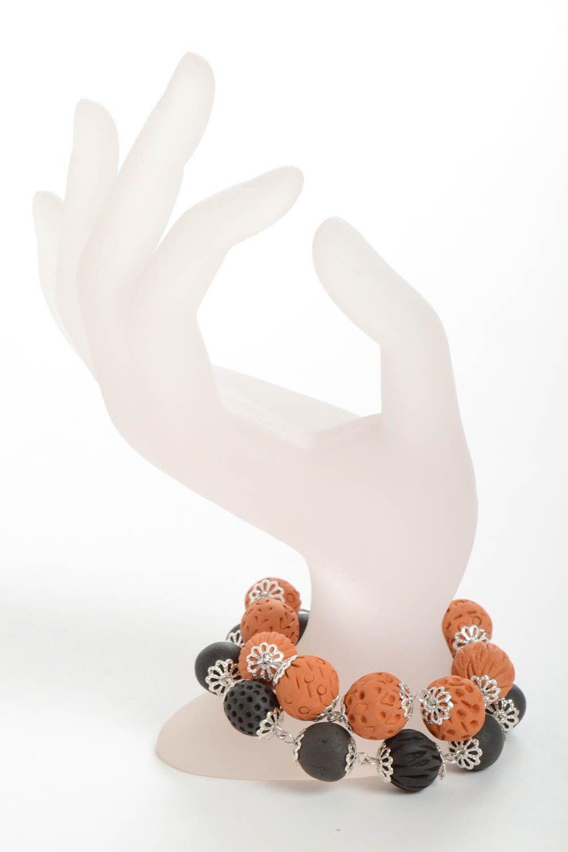 Set of 2 handmade beaded bracelets ceramic bracelets fashion accessories photo 3
