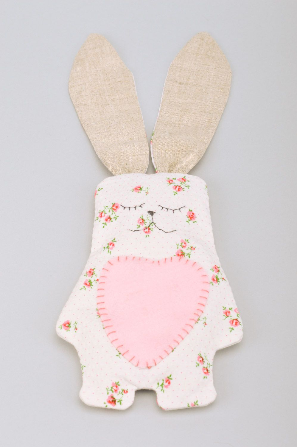 Handmade soft toy rabbit with long ears sewn of cotton fabric with floral print photo 2