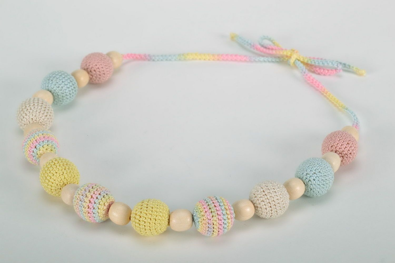fabric jewelry Sling beads in pastel tones - MADEheart.com