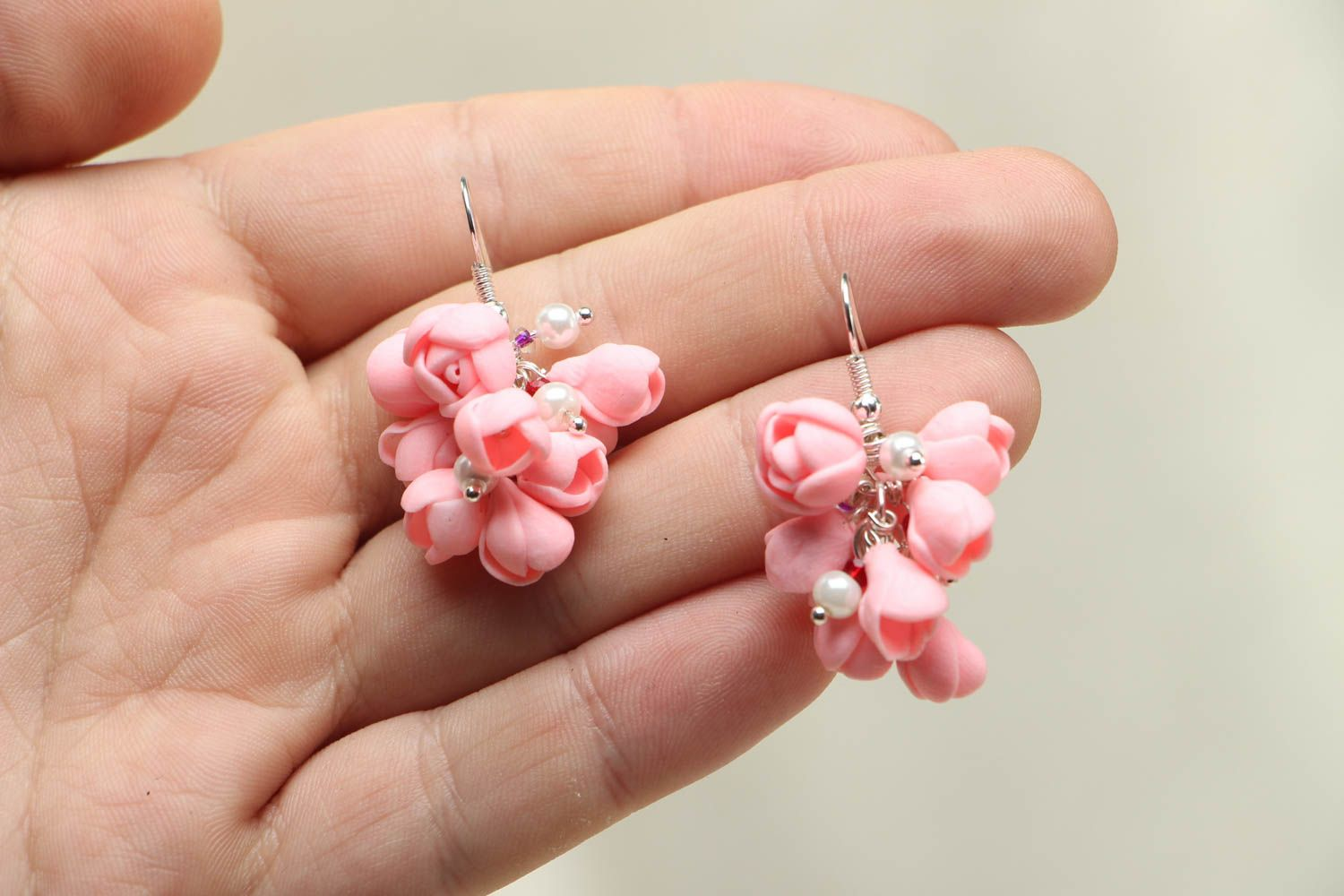 Pink plastic earrings photo 3