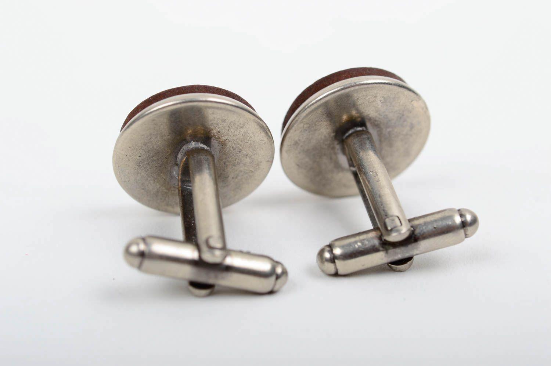 Handmade unique wooden cufflinks on metal base unique designer present for men photo 4