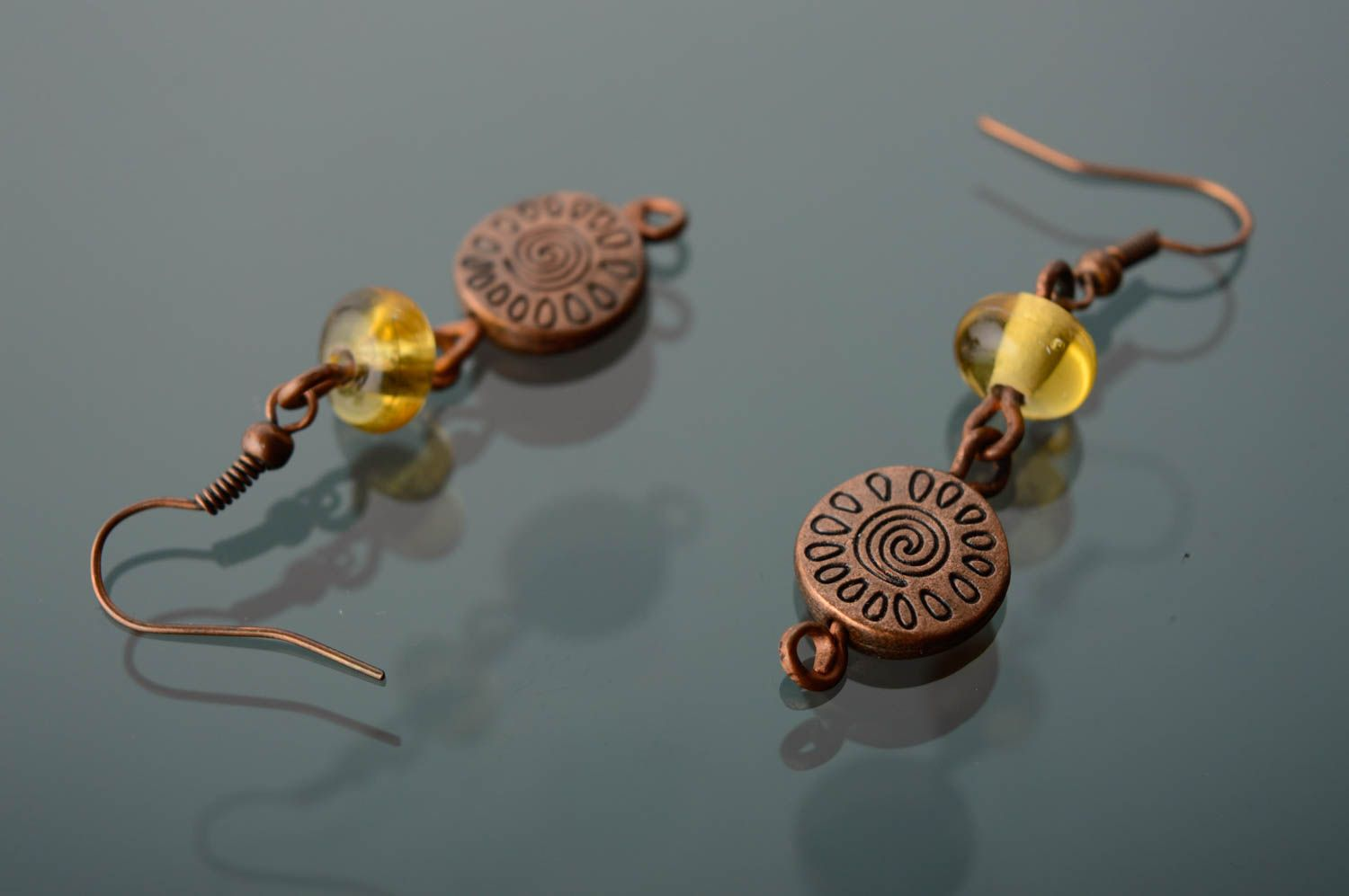 Copper earrings with lampwork beads photo 2