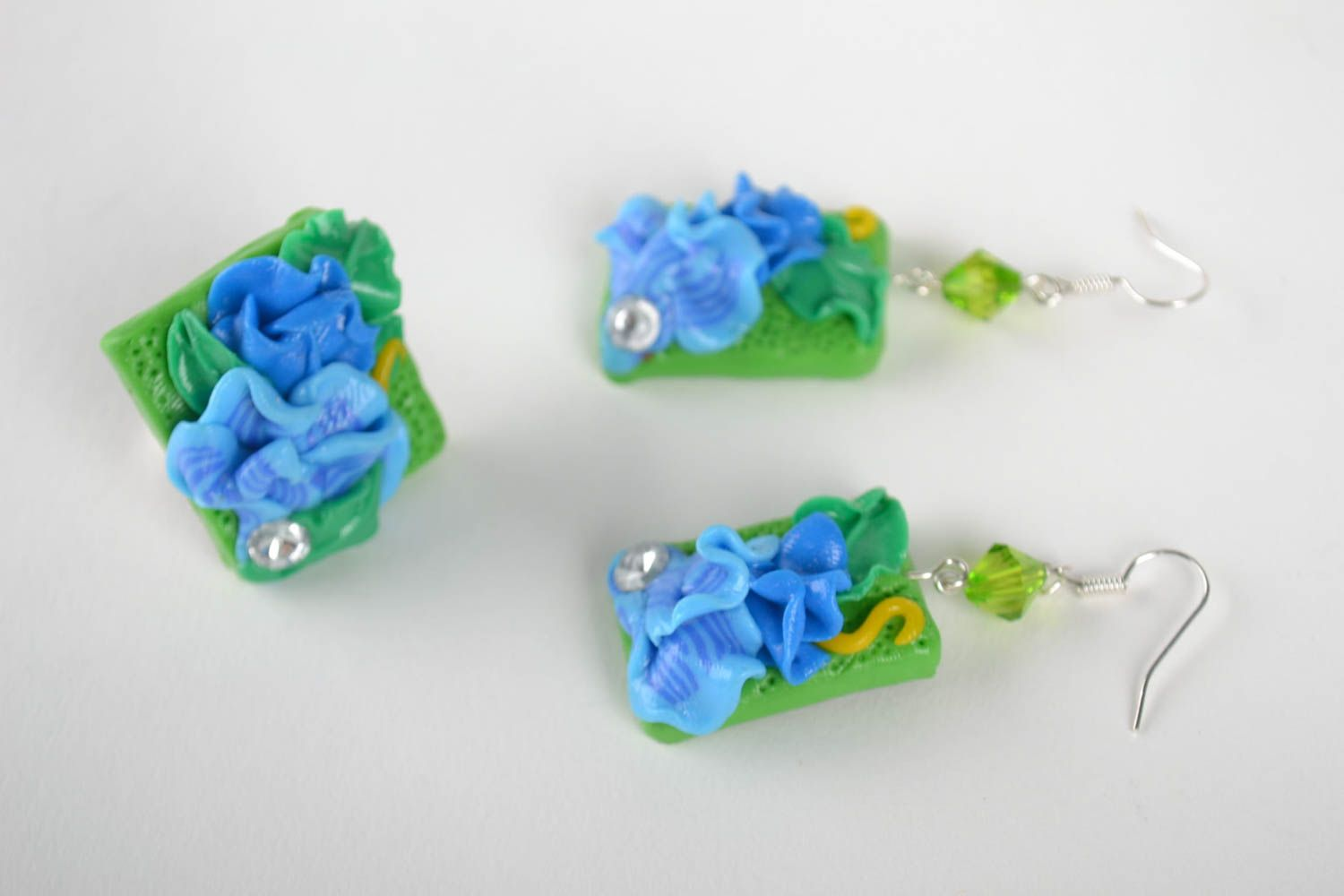 Handmade earrings unusual pendant clay jewelry designer accessories gift ideas photo 2