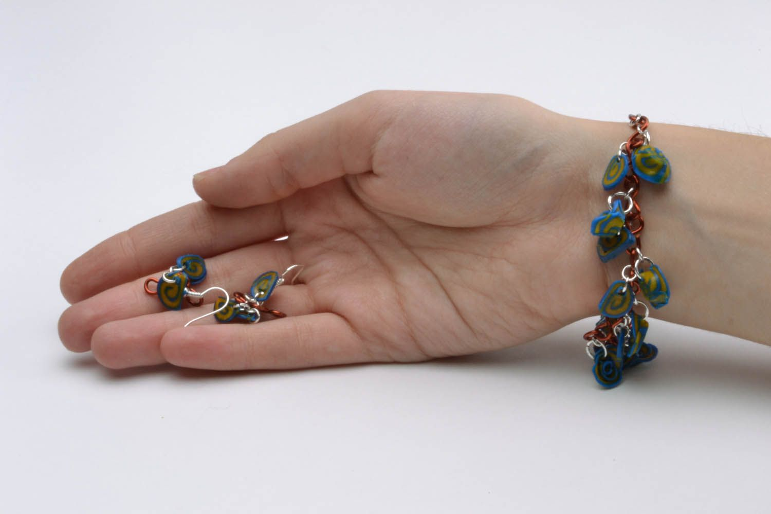 Polymer clay earrings and bracelet photo 5