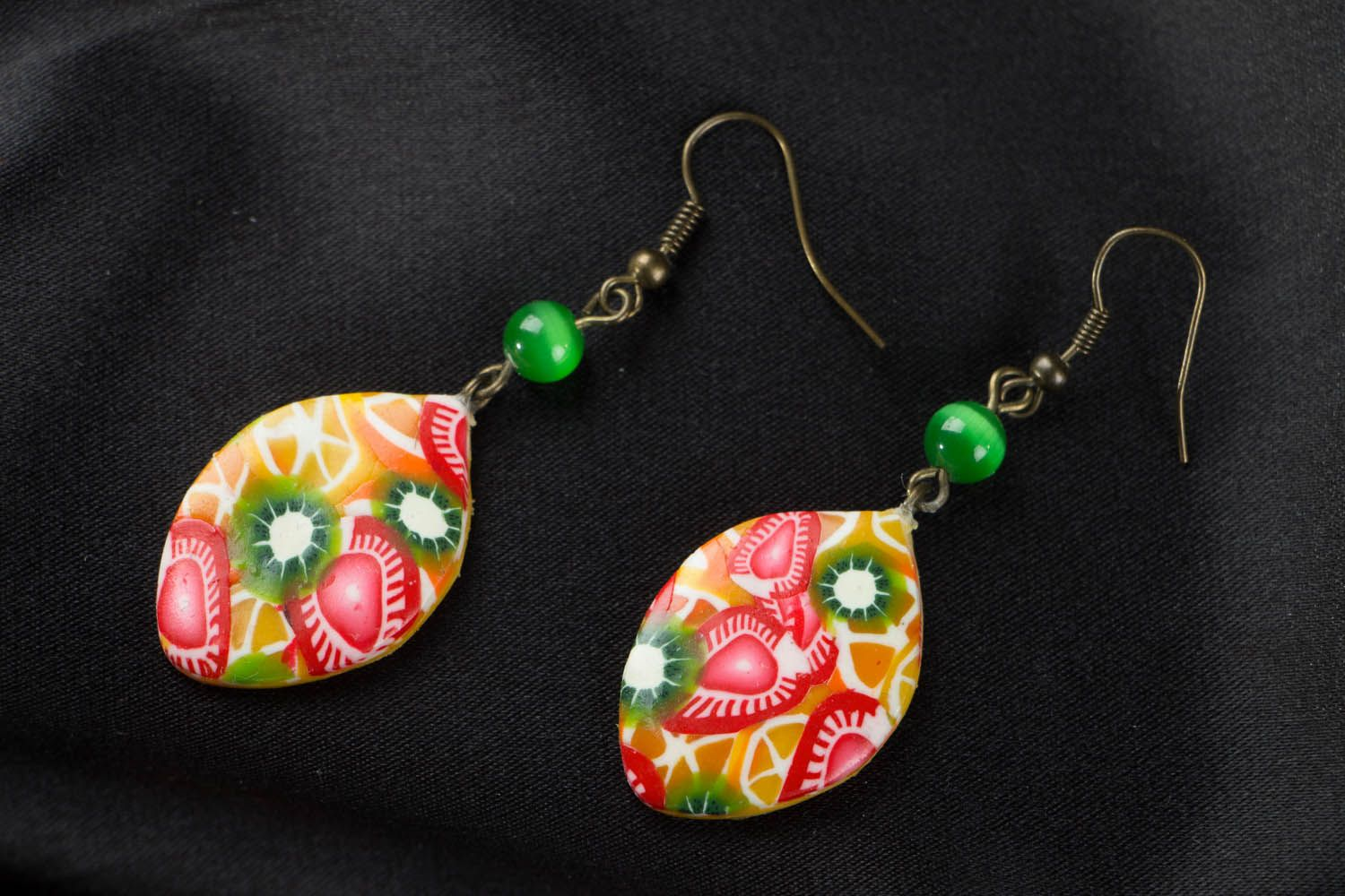 Polymer clay earrings Fruit Mix photo 1