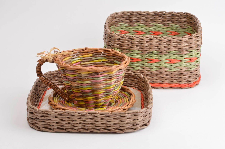 Newspaper tubes box paper box home decor wicker basket unusual decoration