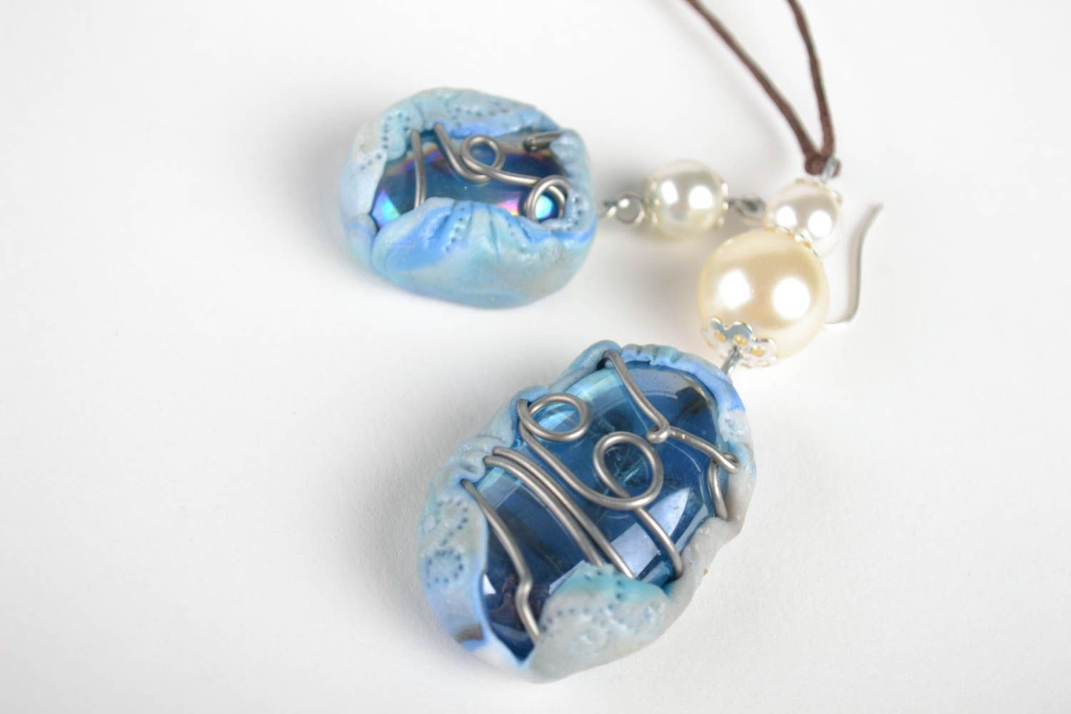 Jewelry set handmade earrings pendant necklace polymer clay fashion accessories photo 3