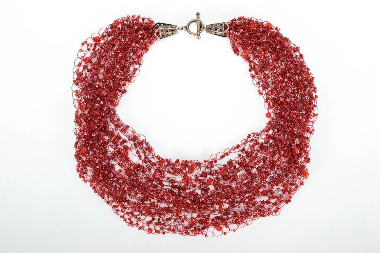 Collier rouge en perles de rocailles fait main photo 1