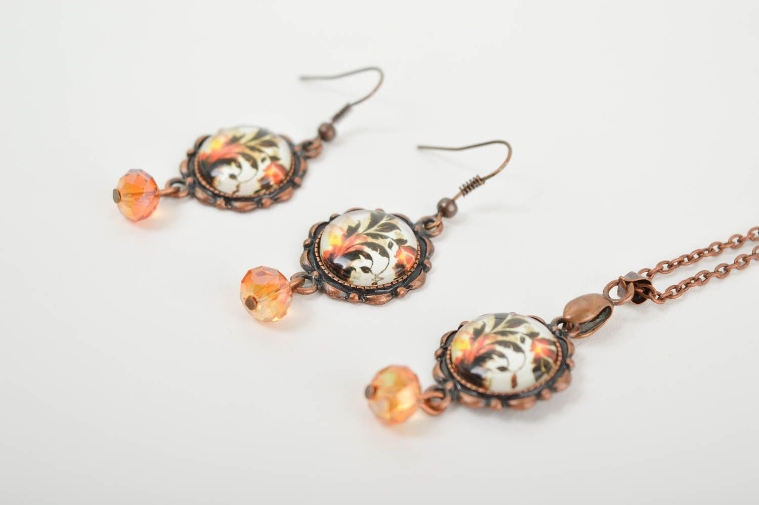 Handmade metal jewelry set glass bead earrings pendant necklace gifts for her photo 3