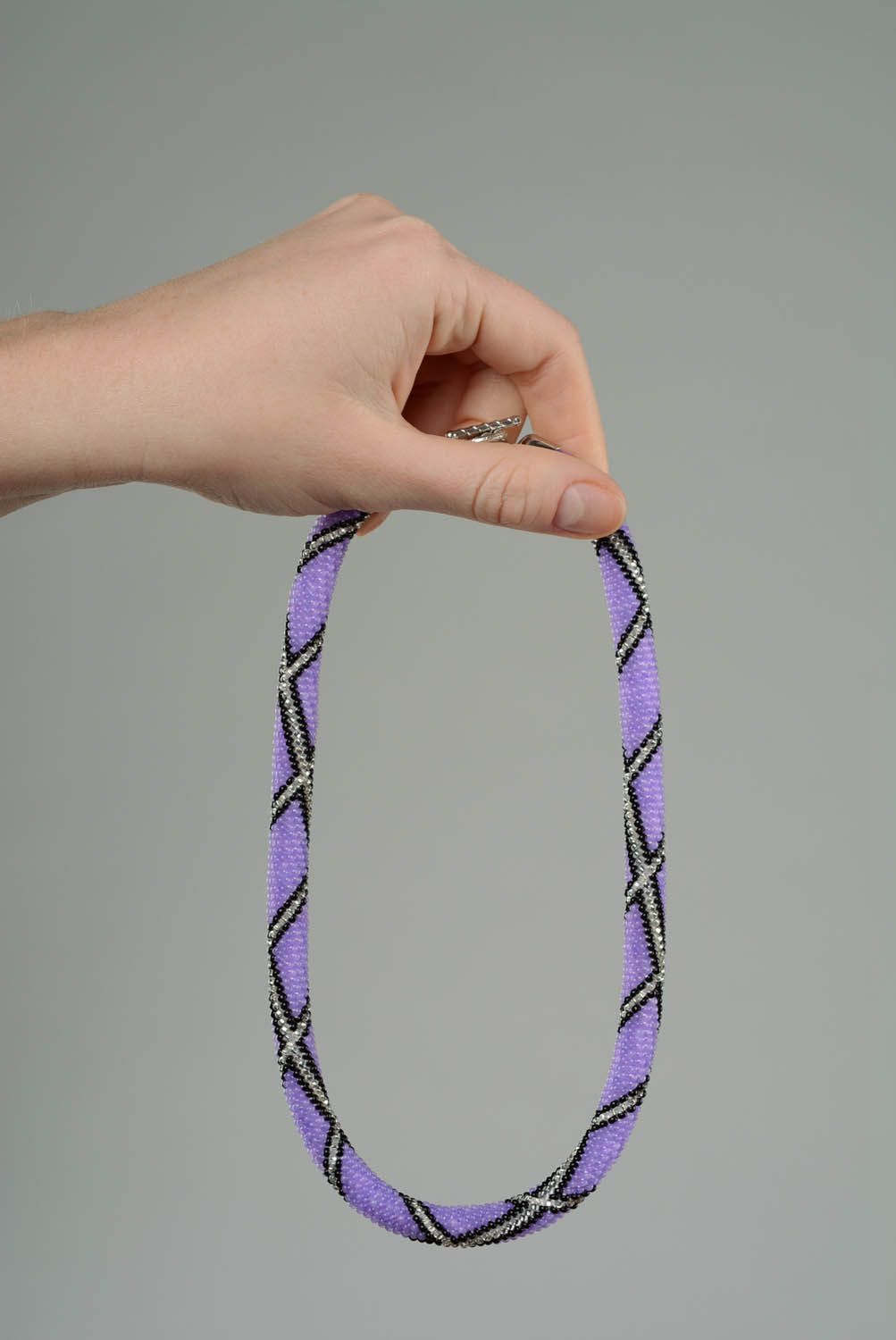 Purple beaded cord photo 5