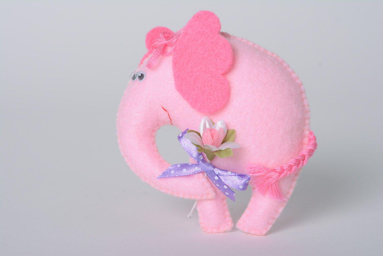 Madeheart handmade decorative cute soft toy made of felt lovely soft toys handmade decorative cute soft toy made of felt lovely pink elephant with flower mightylinksfo