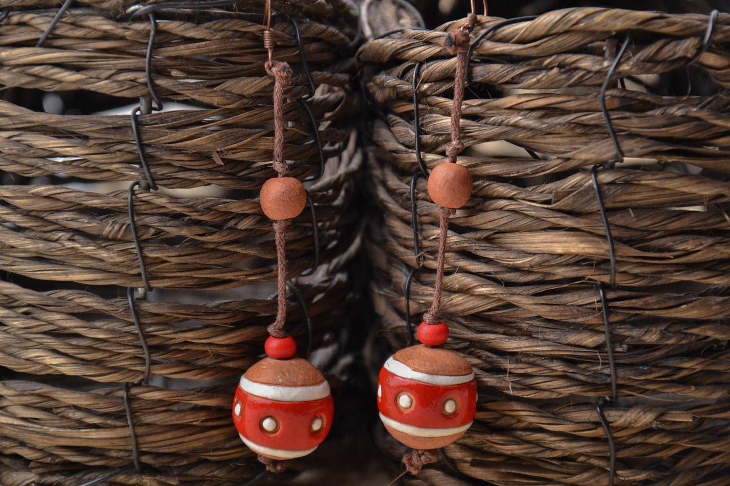 Ceramic ball earrings in eco style photo 1