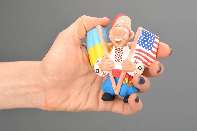Ceramic fridge magnet Cossack with Flags photo 2