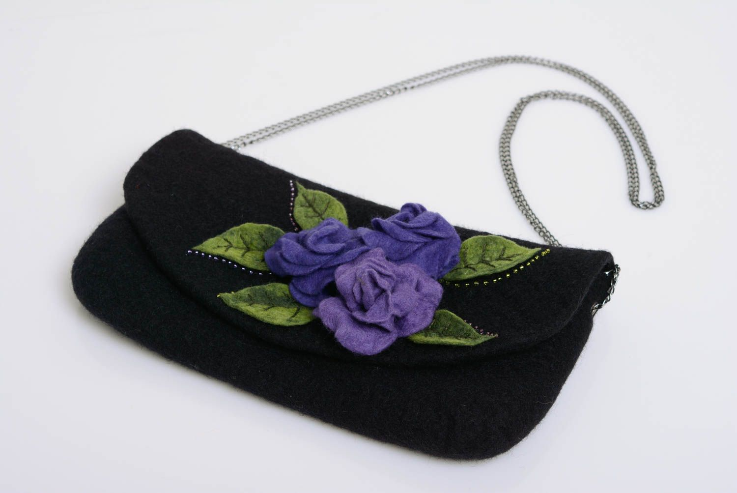 Black handbag wool felting technique on metal chain handmade designer purse photo 2