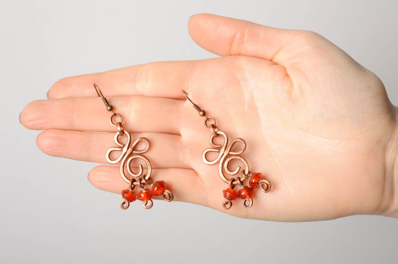 Ohrringe aus Kupfer in Wire Wrap Technik mit Perlen Lampwork foto 5
