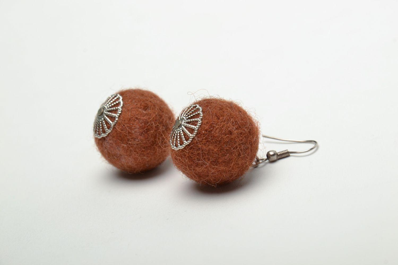 Brown wet felted wool earrings photo 4