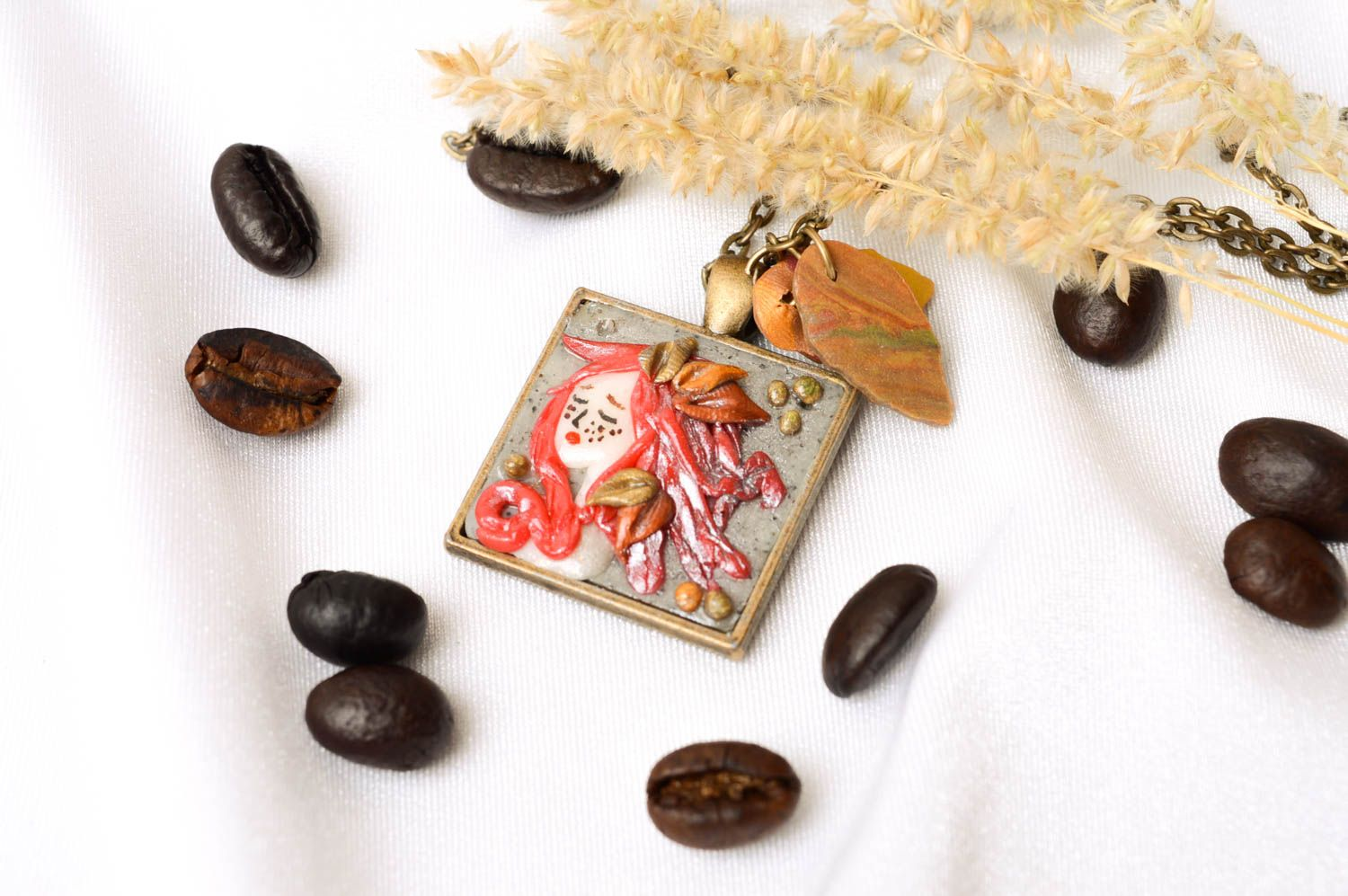Handmade jewelry polymer clay pendant necklace fashion accessories for women photo 1