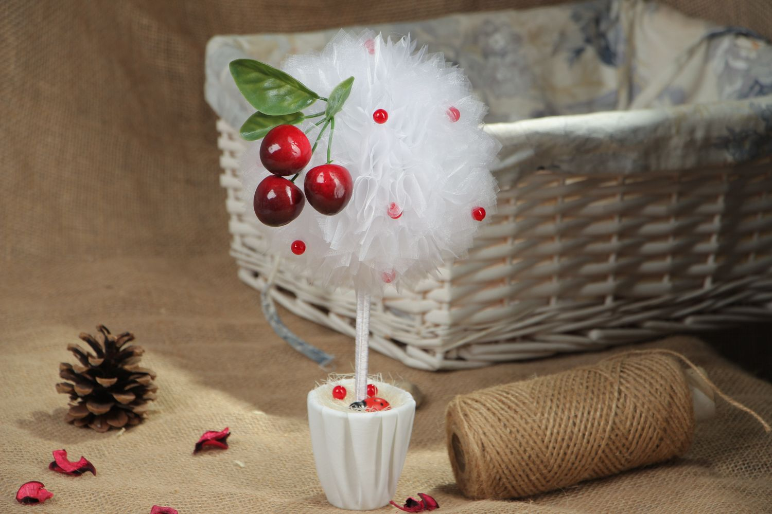 Organza topiary with cherry photo 5