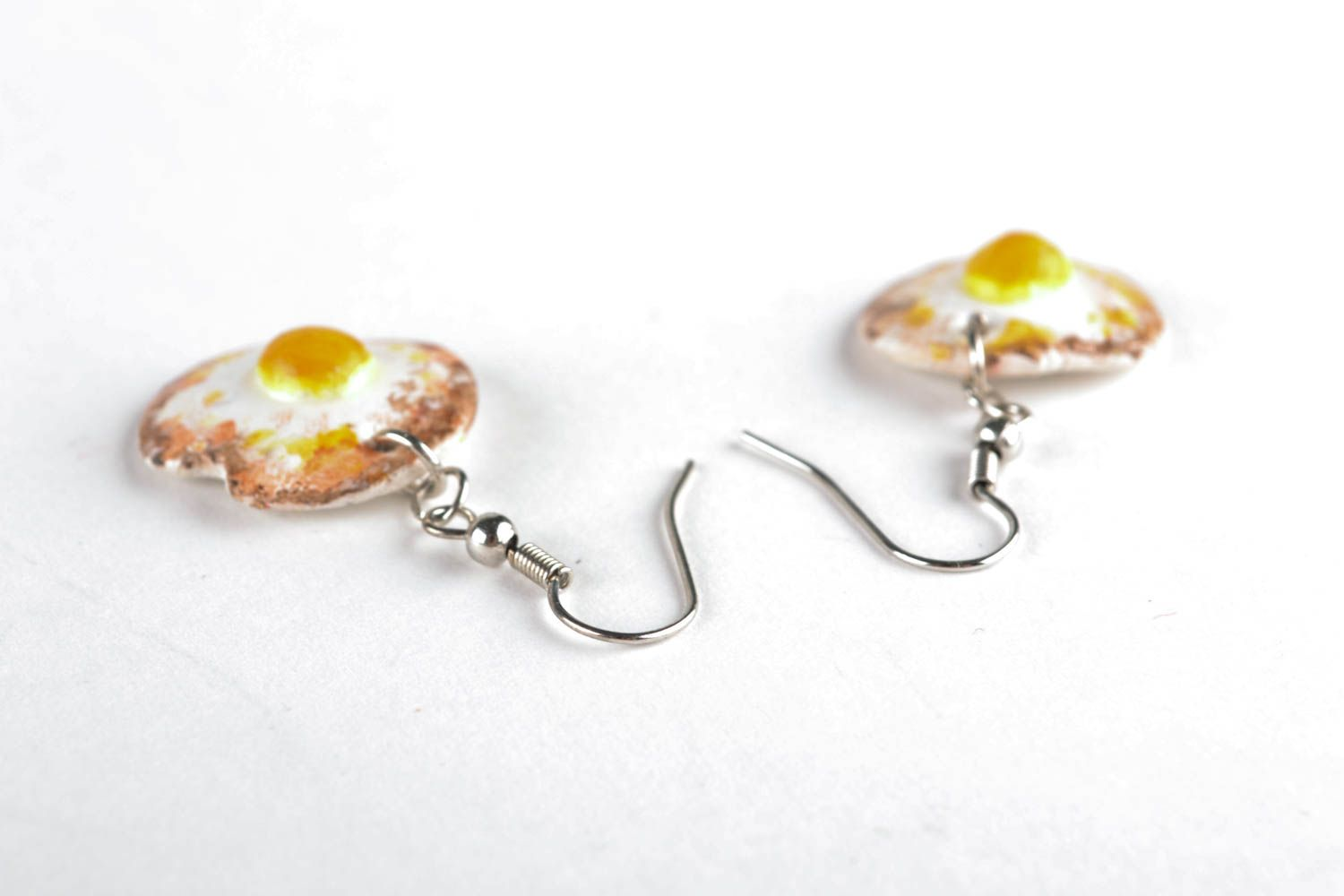 Polymer clay earrings in the shape of fried eggs photo 3