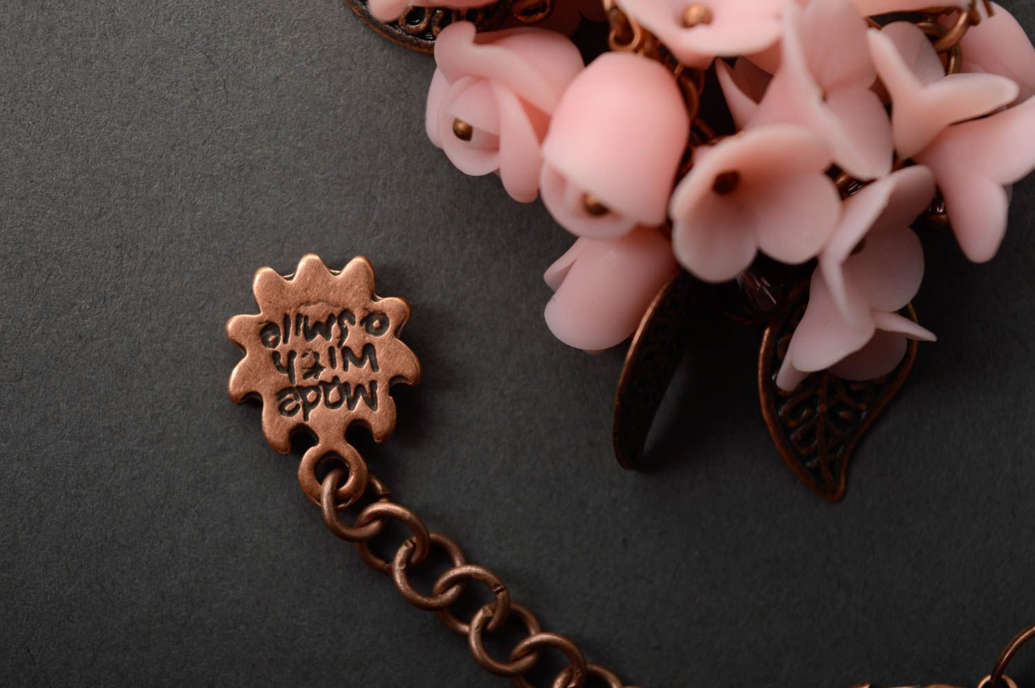 Polymer clay pendant Tender Flowers photo 5