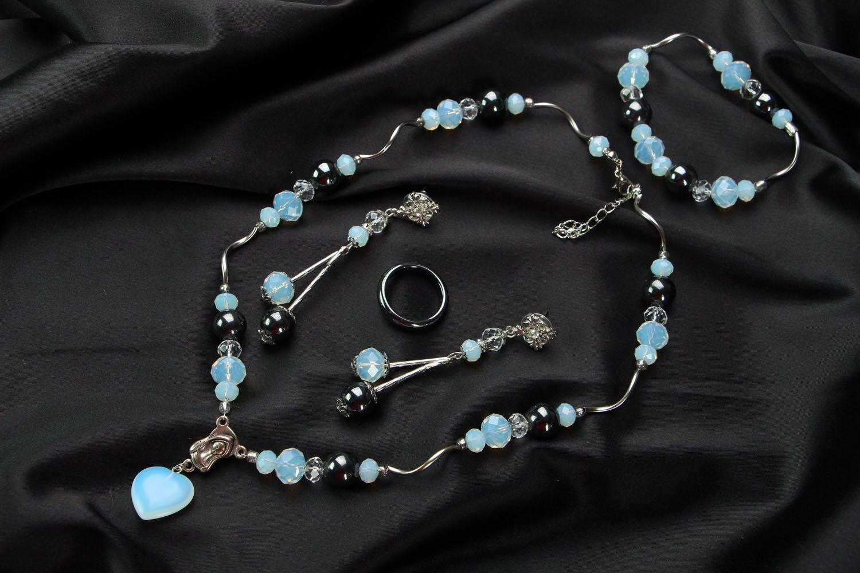 Jewelry set with hematite and moonstone photo 1