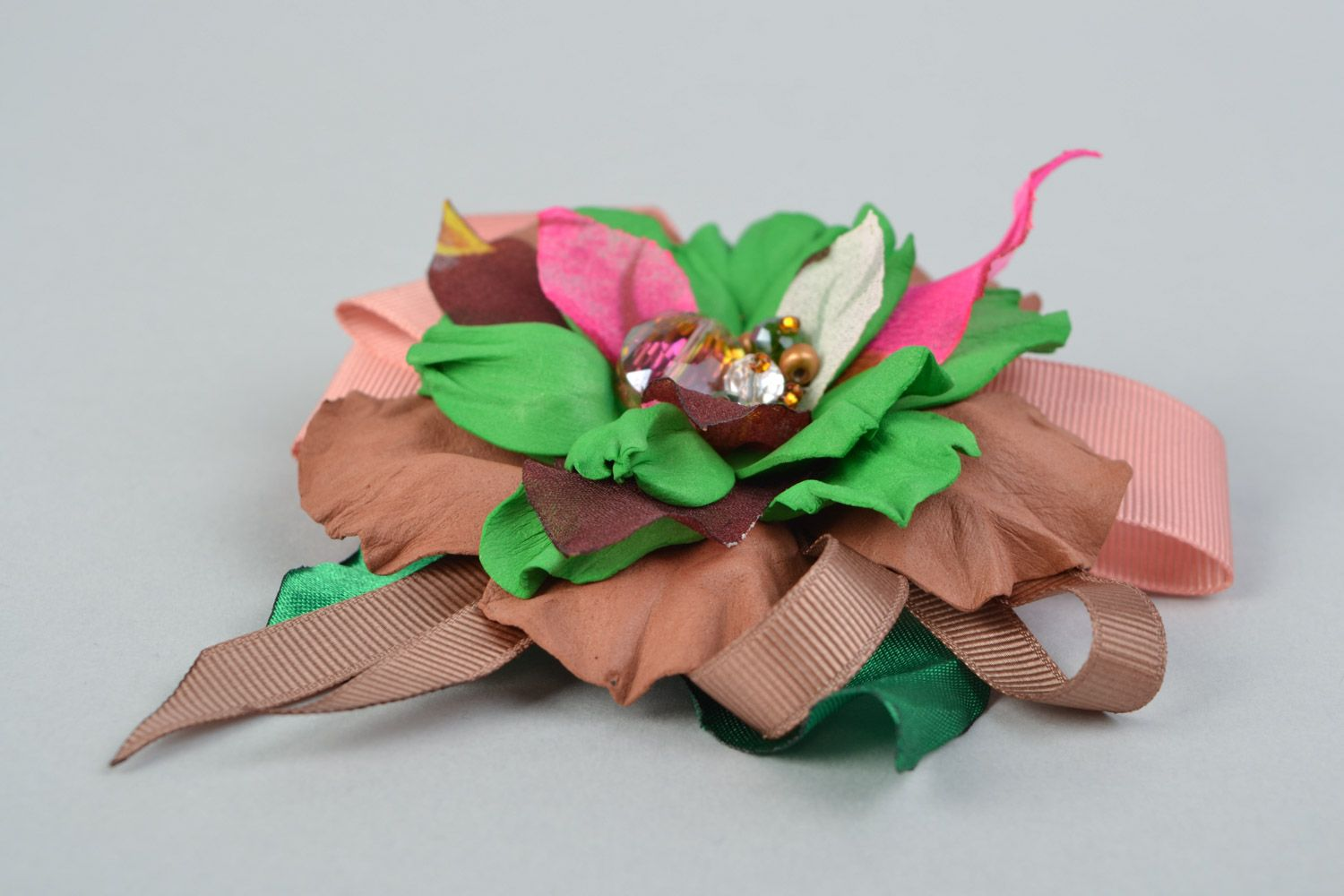 Handmade brown and green hair clip brooch with foamiran flowers and ribbon  photo 5