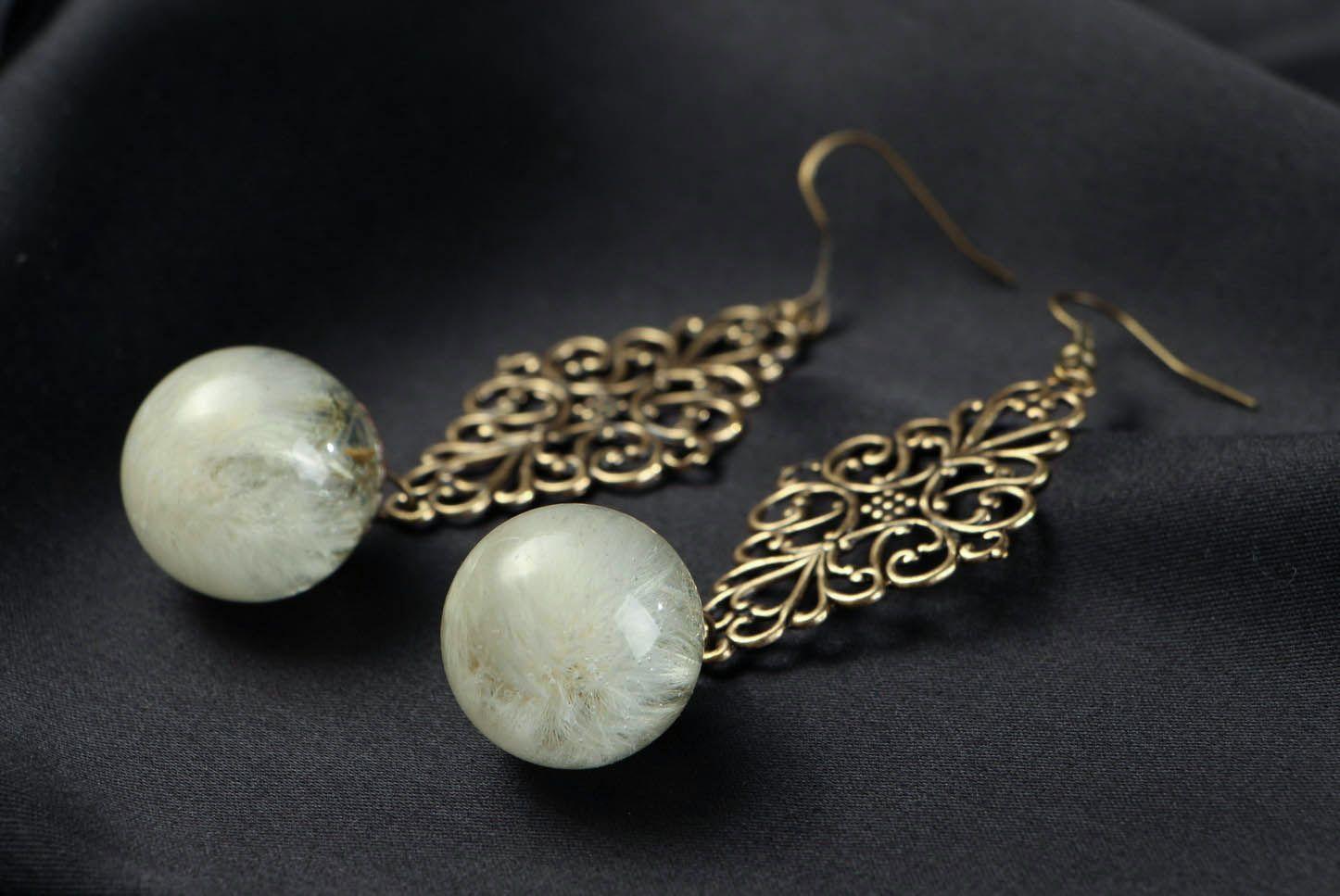 Long Earrings with Dandelions photo 2