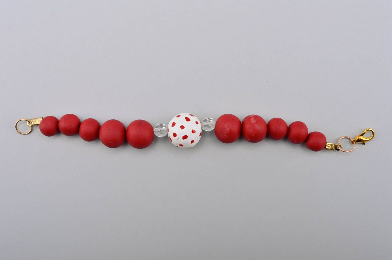 Handmade beautiful bracelet plastic red bracelet stylish wrist accessory photo 4