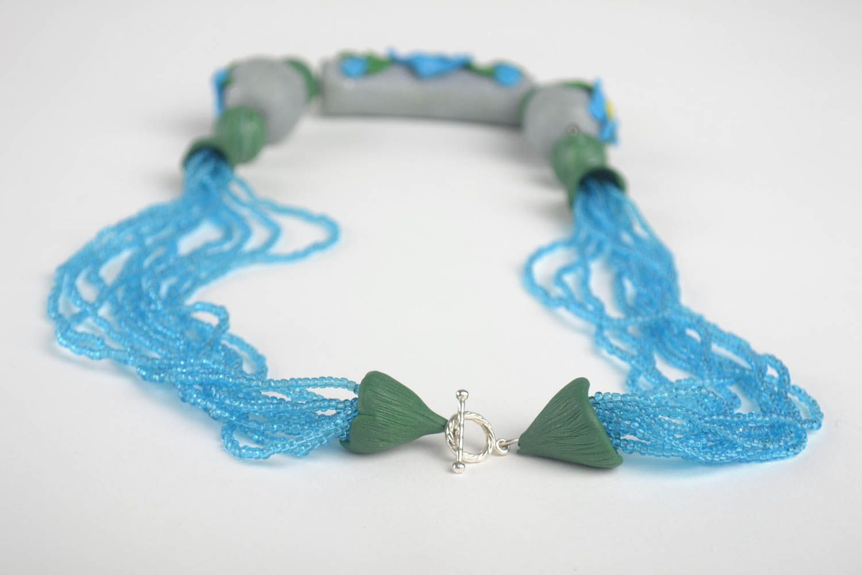 Stylish handmade bijouterie designer polymer clay necklace unique present photo 4