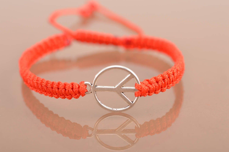Handmade decorative bracelet with symbol of peace designer textile accessory photo 2