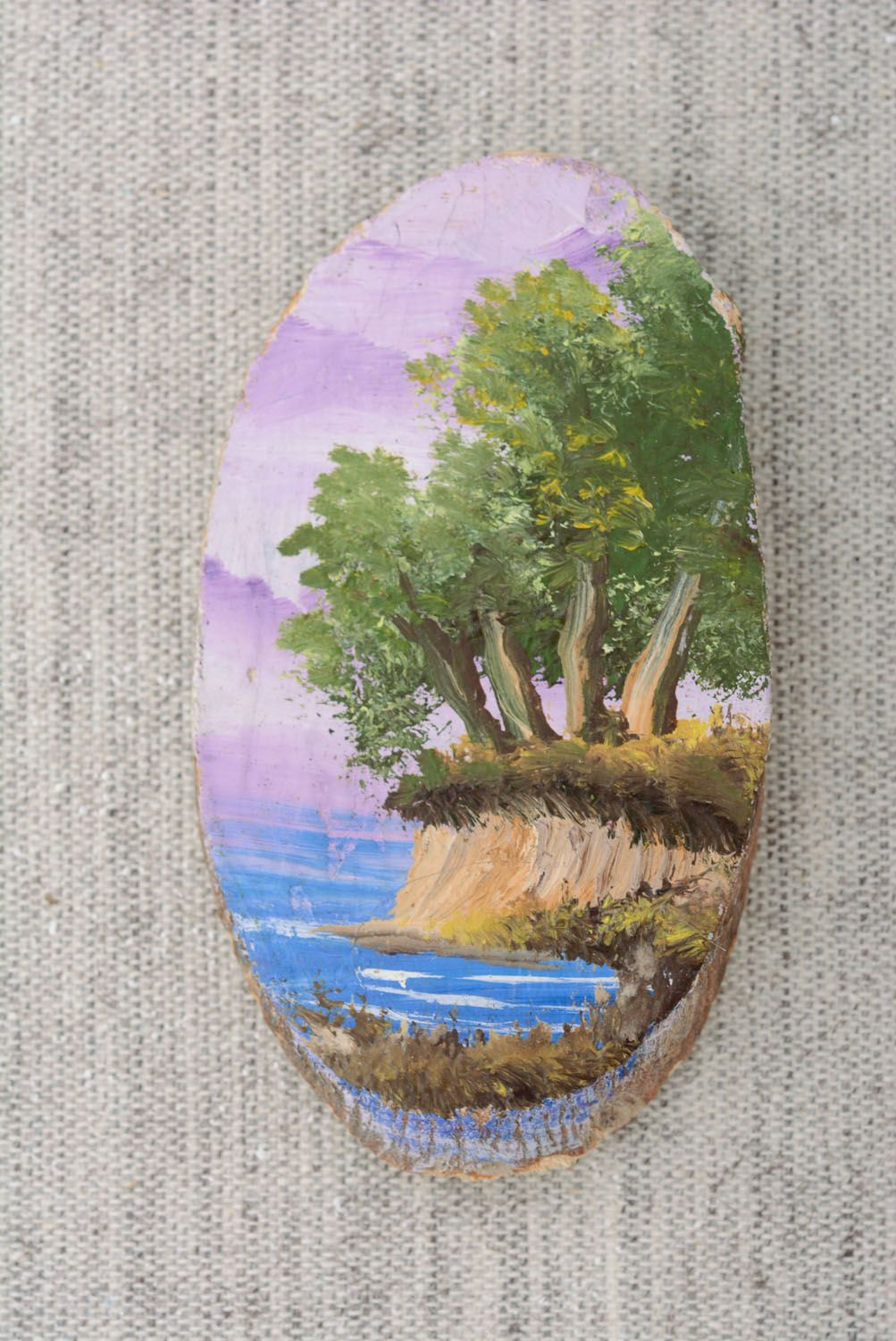 Wooden fridge magnet Lilac Evening photo 4