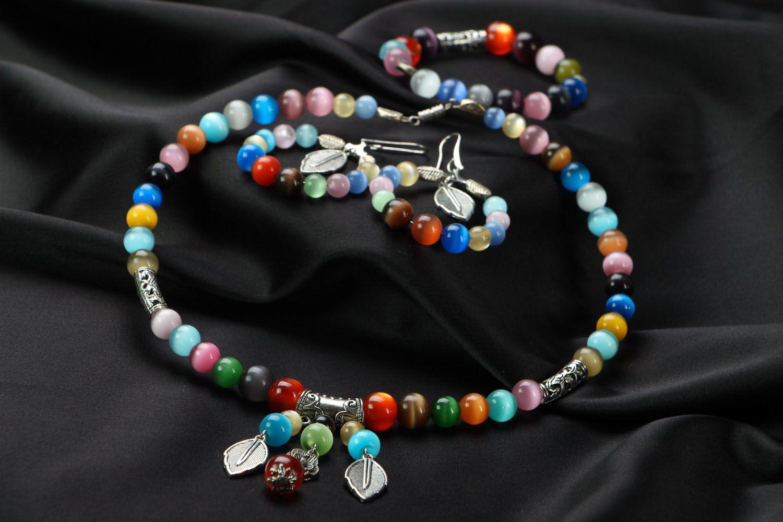Jewelry set with cat's eye stone photo 2
