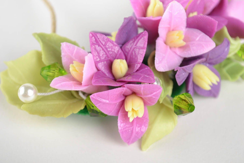 Schmuck Collier handmade Damen Halskette Halsschmuck für Damen mit Blumen lila foto 4