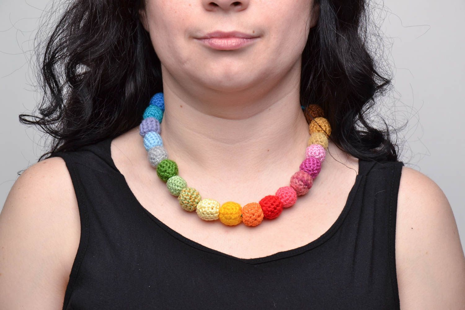Multi-colored hand crocheted bead necklace photo 5