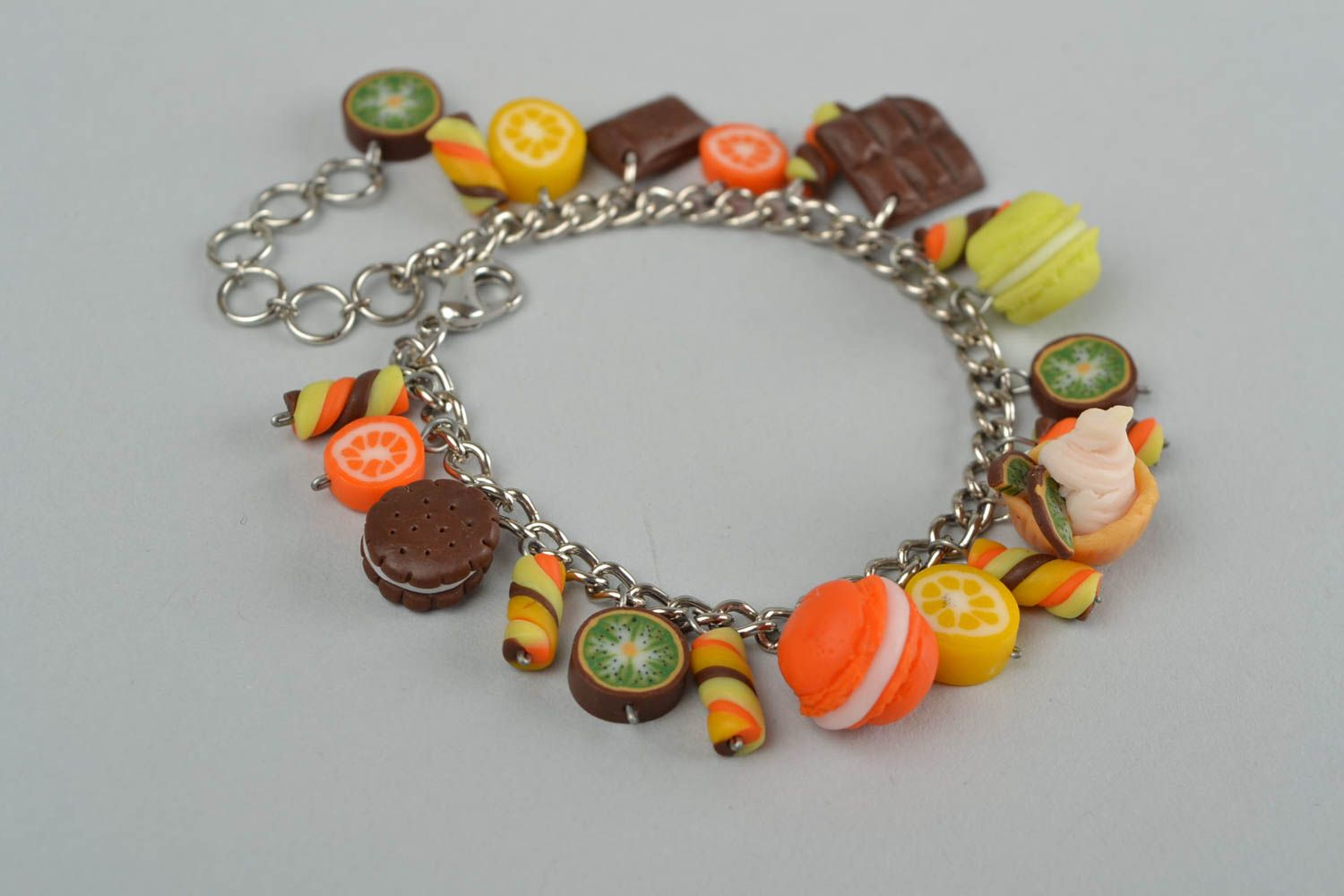 Handmade metal chain wrist bracelet with polymer clay charms Candies for women photo 4