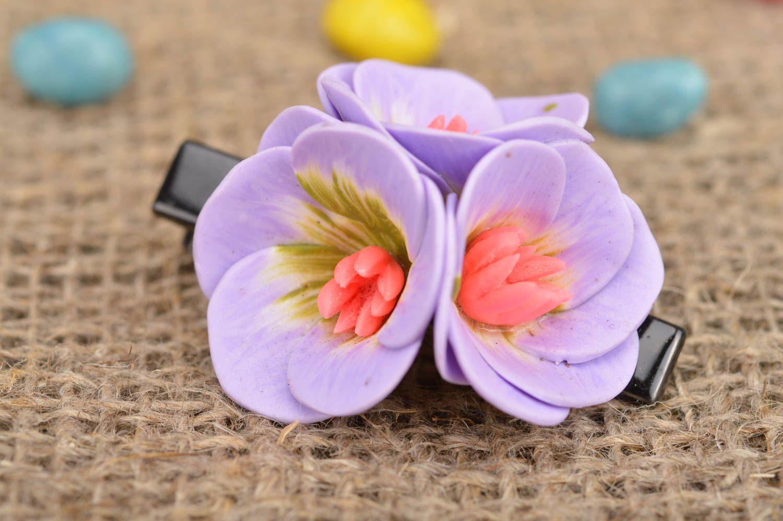 Unusual beautiful handmade designer lilac polymer clay flower hair clip photo 1