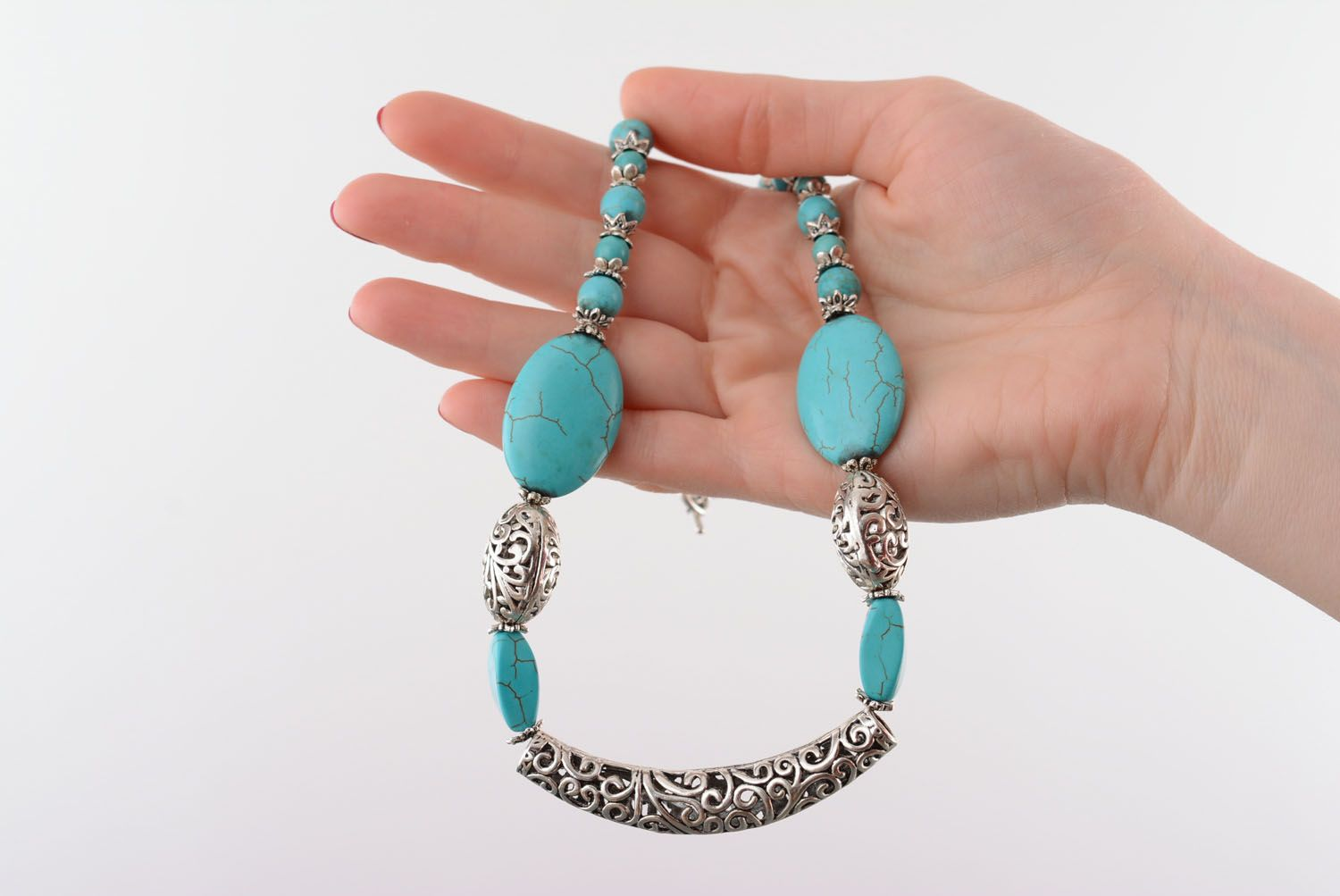 Necklace and earrings made of turquoise photo 4