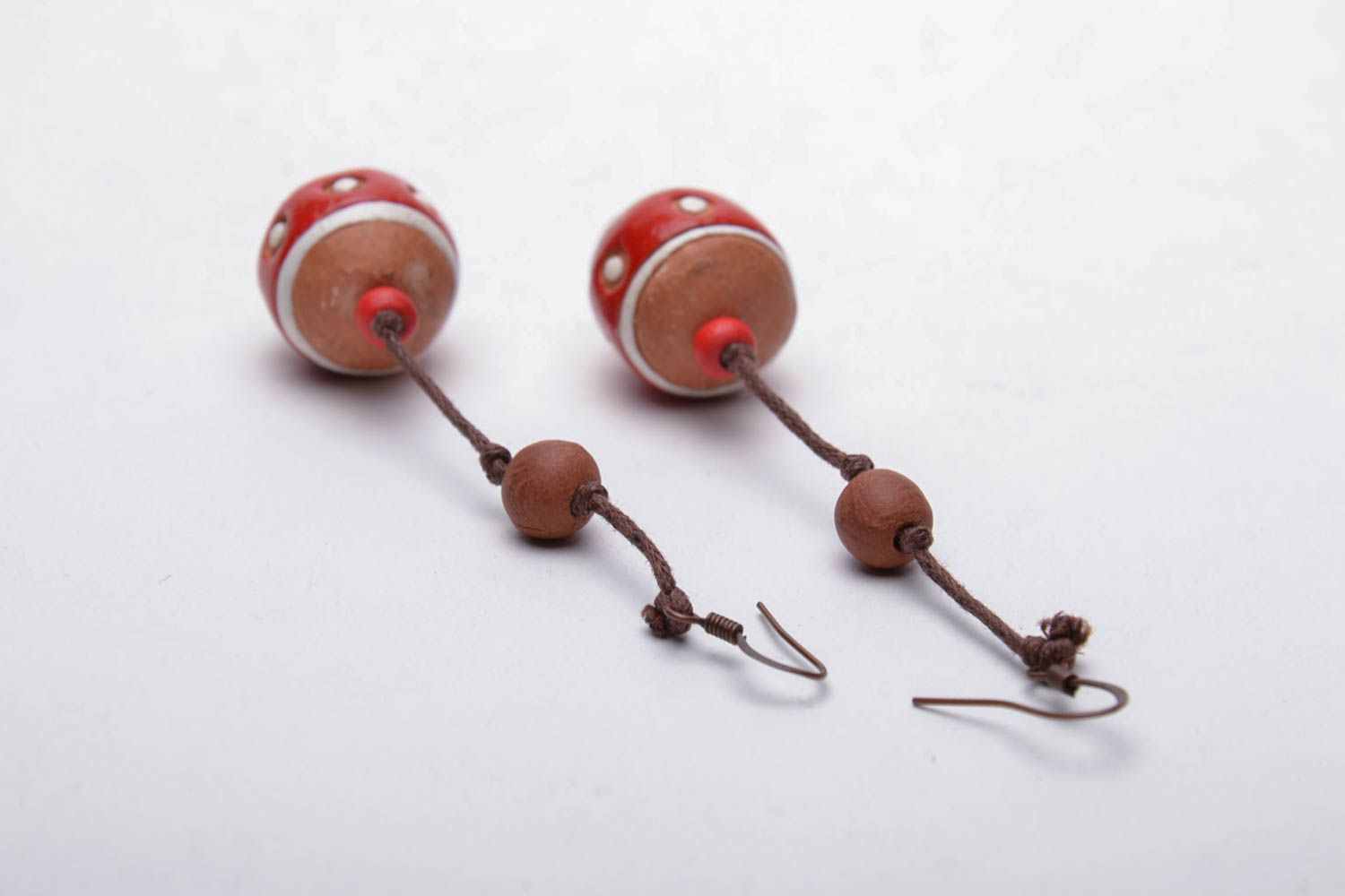 Ceramic ball earrings in eco style photo 5