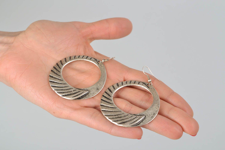 Handmade hoop earrings with patterns photo 2