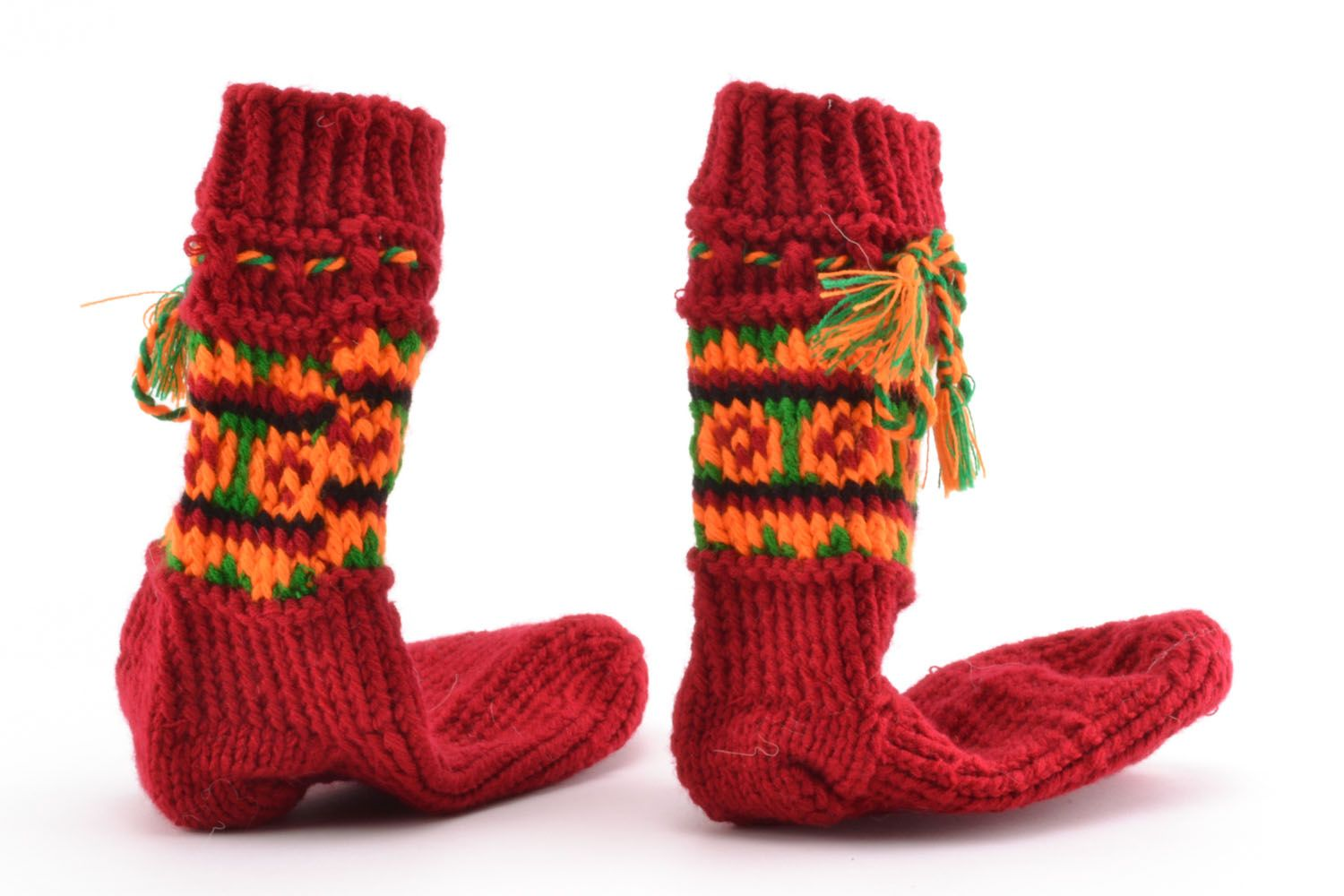Woolen knitted socks Red photo 4
