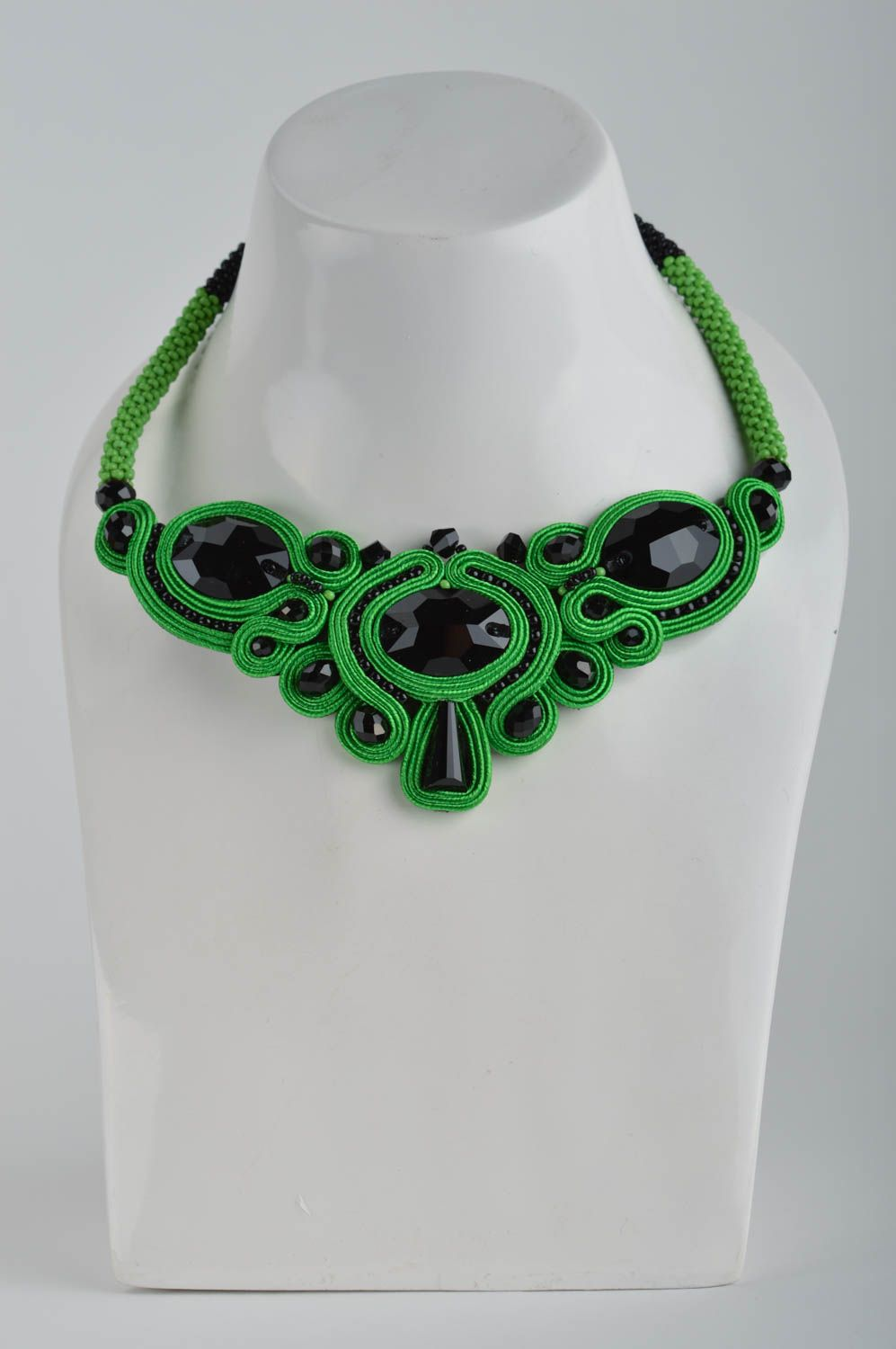 Handmade massive evening green and black soutache necklace with Czech beads photo 3