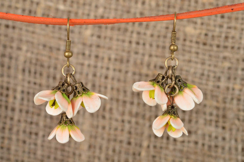 Handmade designer dangling earrings with polymer clay tender flowers photo 1