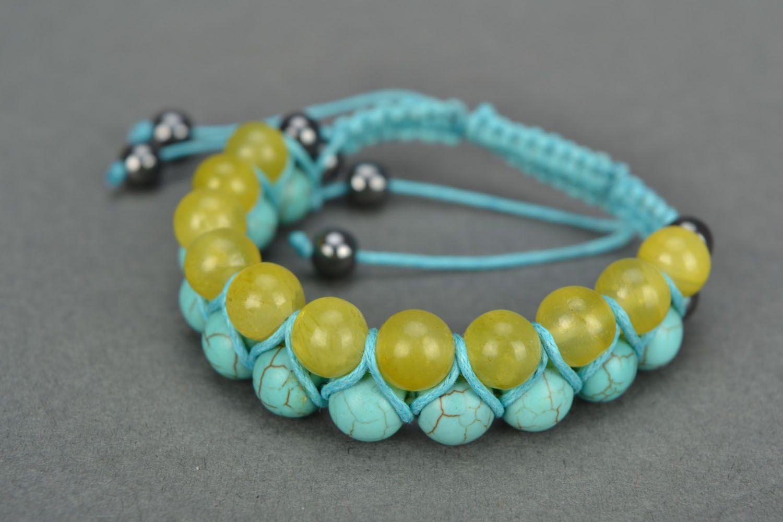 Handmade bracelet with turquoise and onyx photo 3