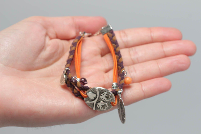 Handmade festive bracelet leather unusual accessory beautiful wrist jewelry photo 5