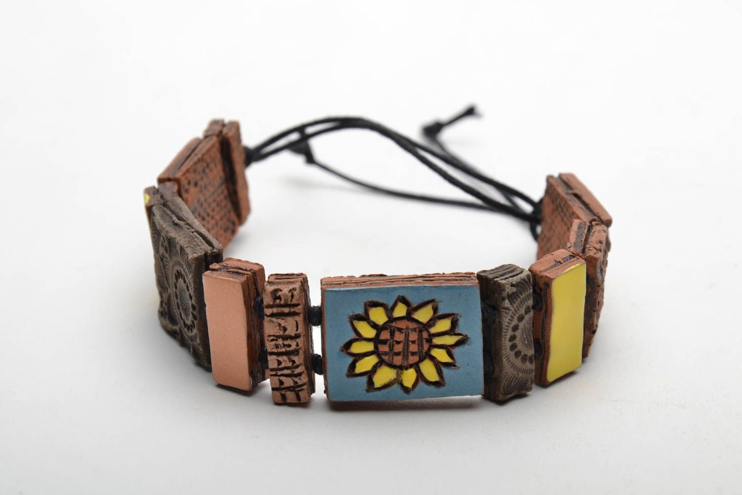 Ceramic bracelet with square beads photo 5