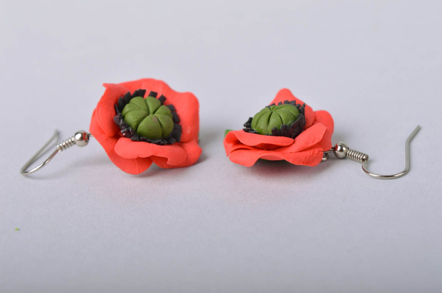 Handmade designer floral cold porcelain dangling earrings red poppies photo 4